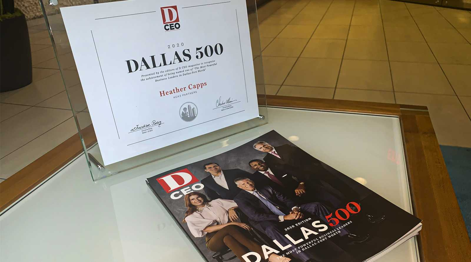 D CEO Dallas 500 Cover and certificate for Heather Capps