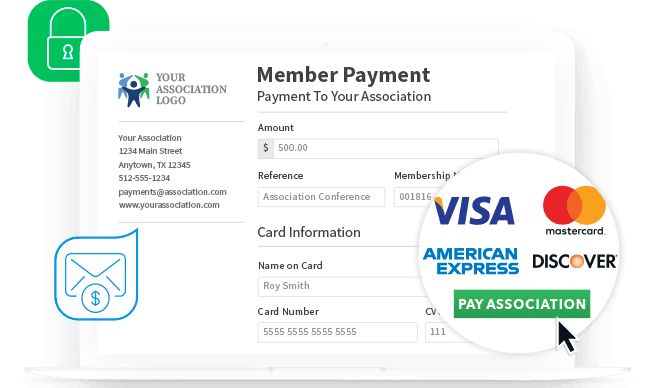 Personalized member payment page accepting visa, american express, mastercard, discover