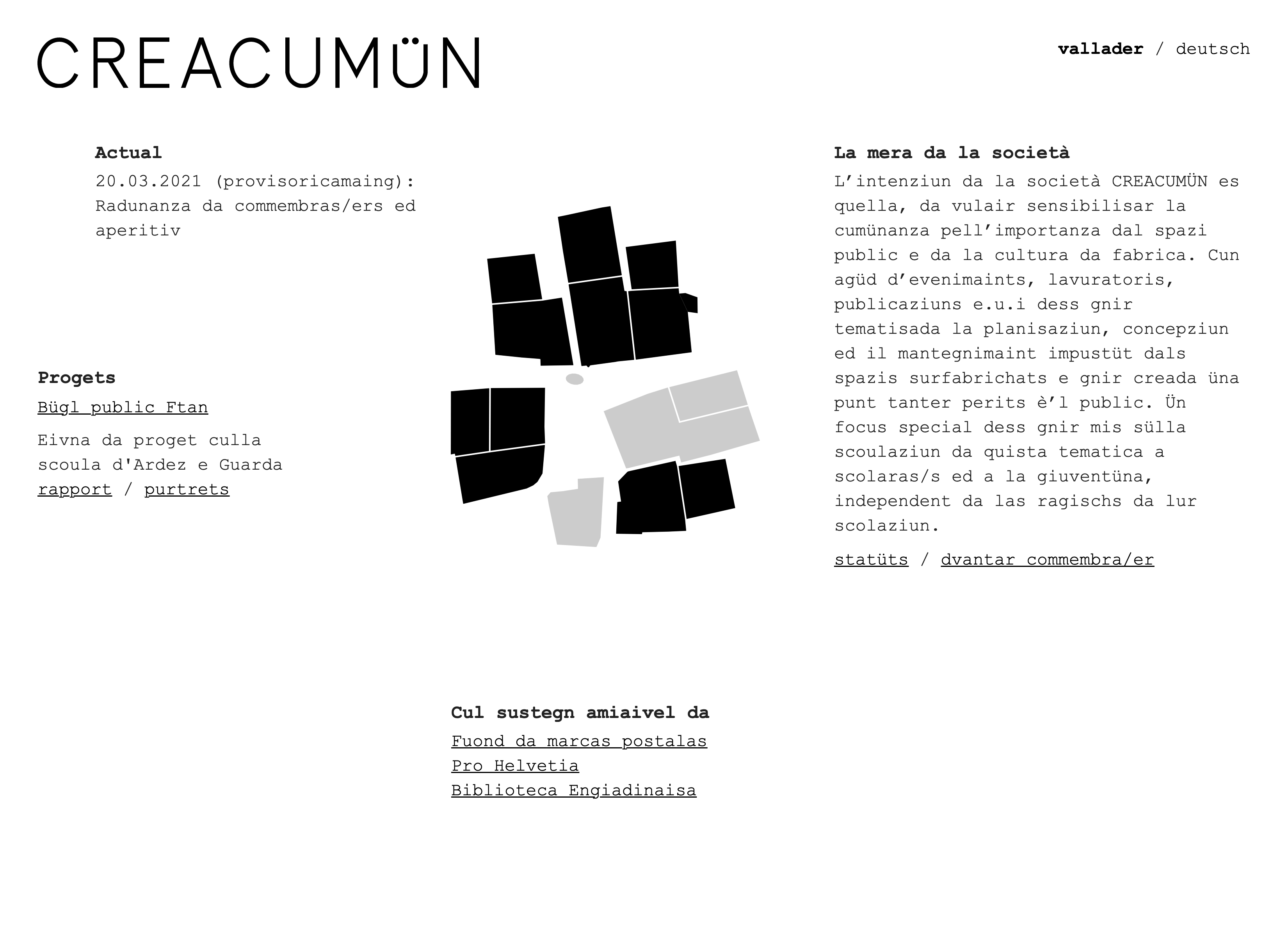Screenshot of the 'Creacumün' website