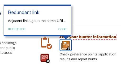 A WAVE tool error shows a redundant link error