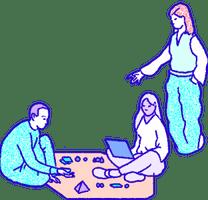 Eine Illustration von Mitgliedern der Ethereum-Community in Zusammenarbeit