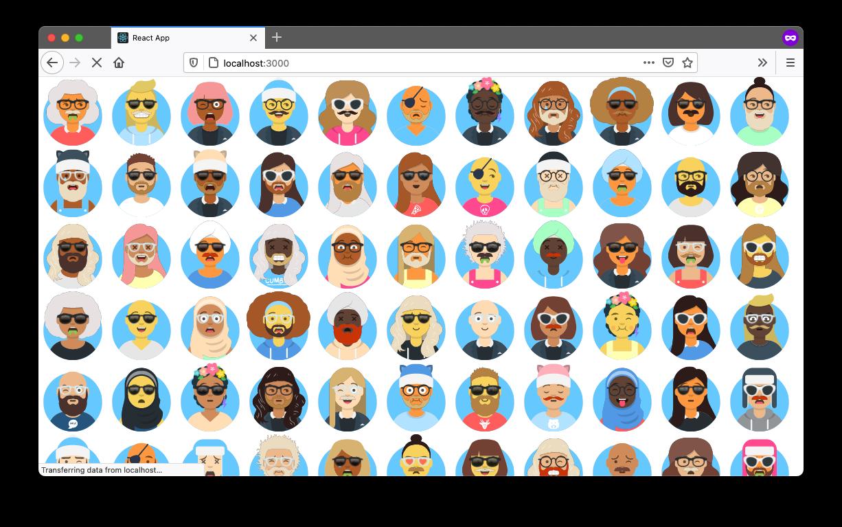 A browser with 100 random avatars