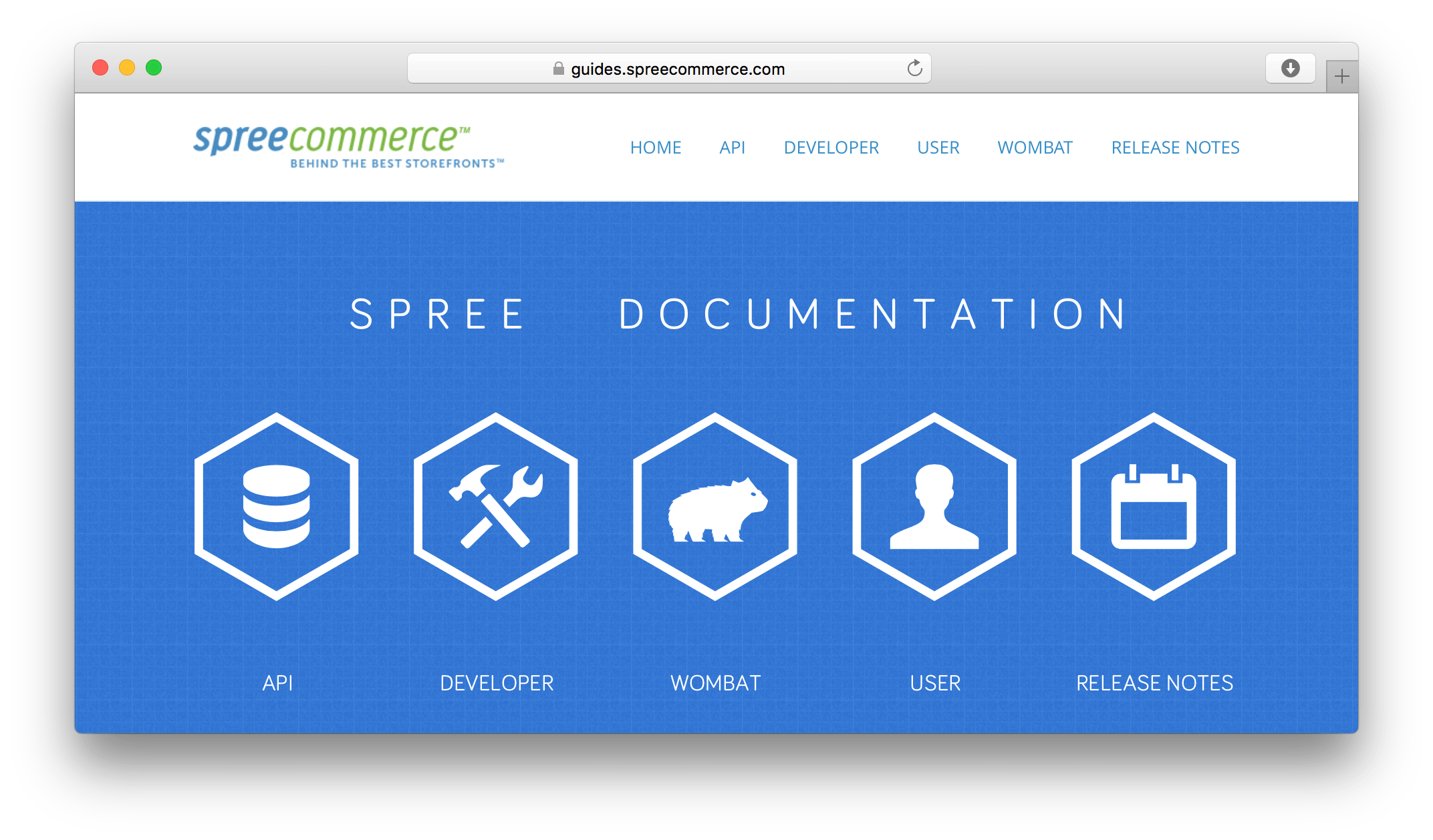 Spree Commerce API site screenshot