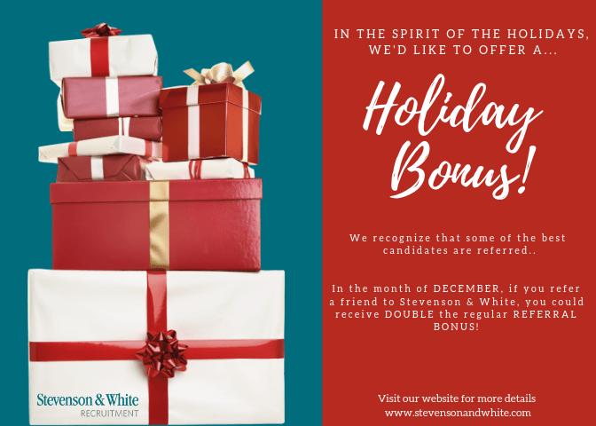 Stevenson & white Holiday bonus