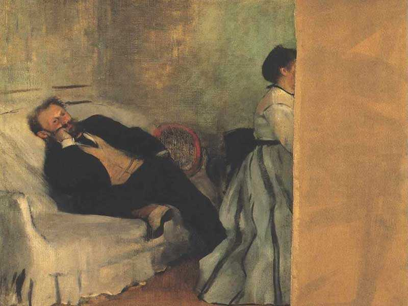 Manet reacted angrily to Degas' depiction of his wife Suzanne and slashed Degas' painting.