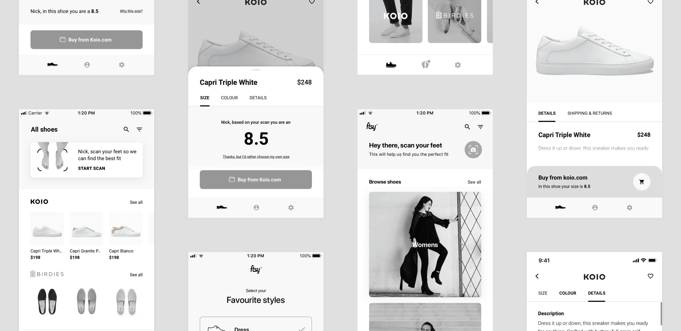 FTSY mobile app wireframes