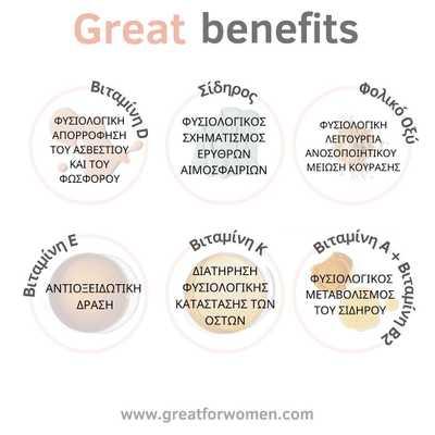 Με μια ματιά: Μερικά απο τα ωφέλη των συστατικών της πολυβιταμίνης Great!  Διαβάστε περισσότερα στην ιστοσελίδα μας www.greatforwomen.com την οποία θα βρείτε και στο link in bio!  #greatbenefits #greatforwomen #vitamins #multivitamin #getyourvitamins #greatbyvickykaya