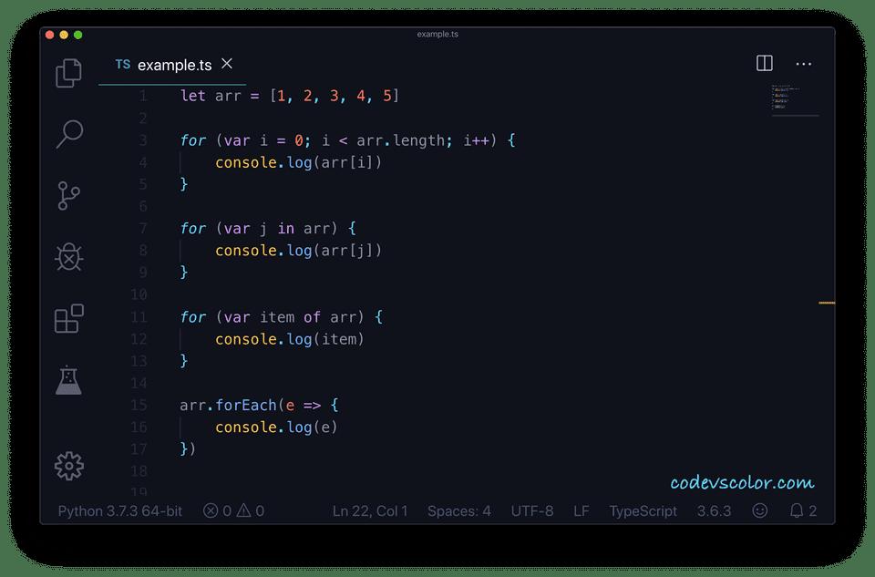 Iterate over array typescript