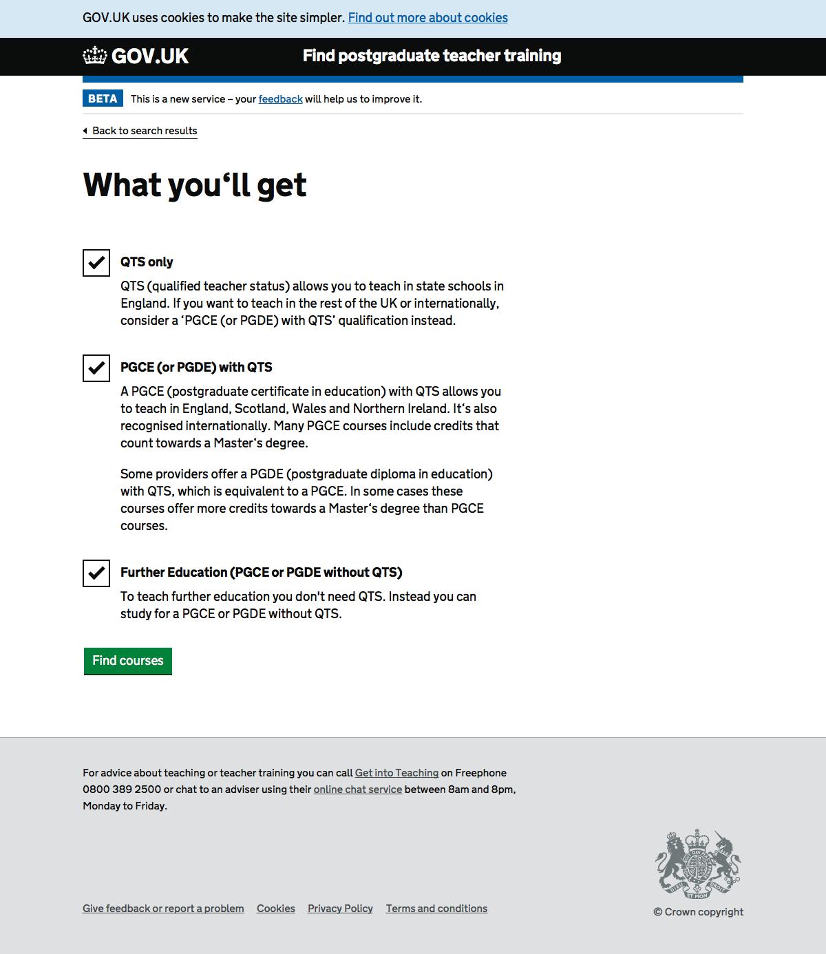 Screenshot of Qualification filter