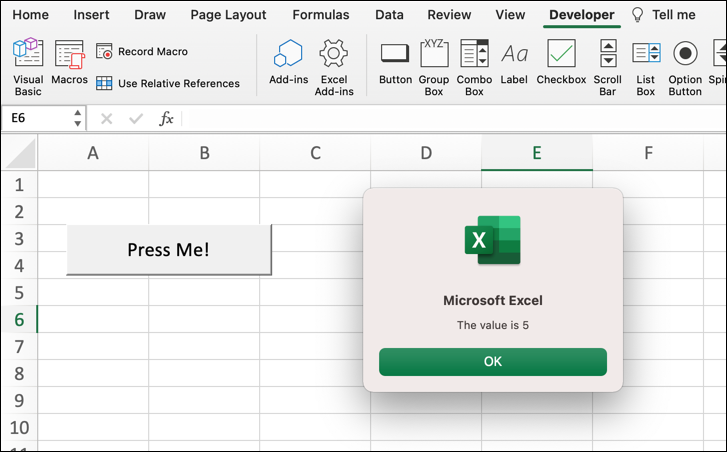 """A Microsoft Excel worksheet with a button with the text """"Press me!"""" and a pop-up window where the Step value has been set to five."""