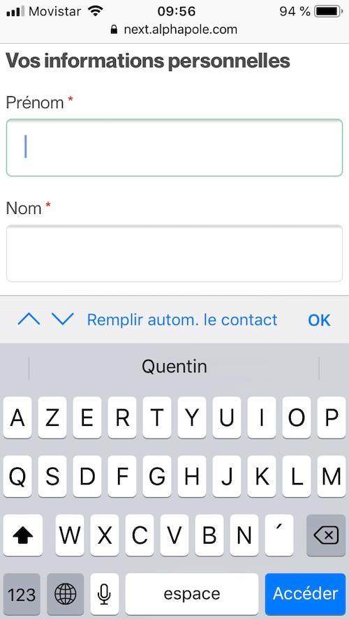 pre-remplissage du formulaire avec iOS