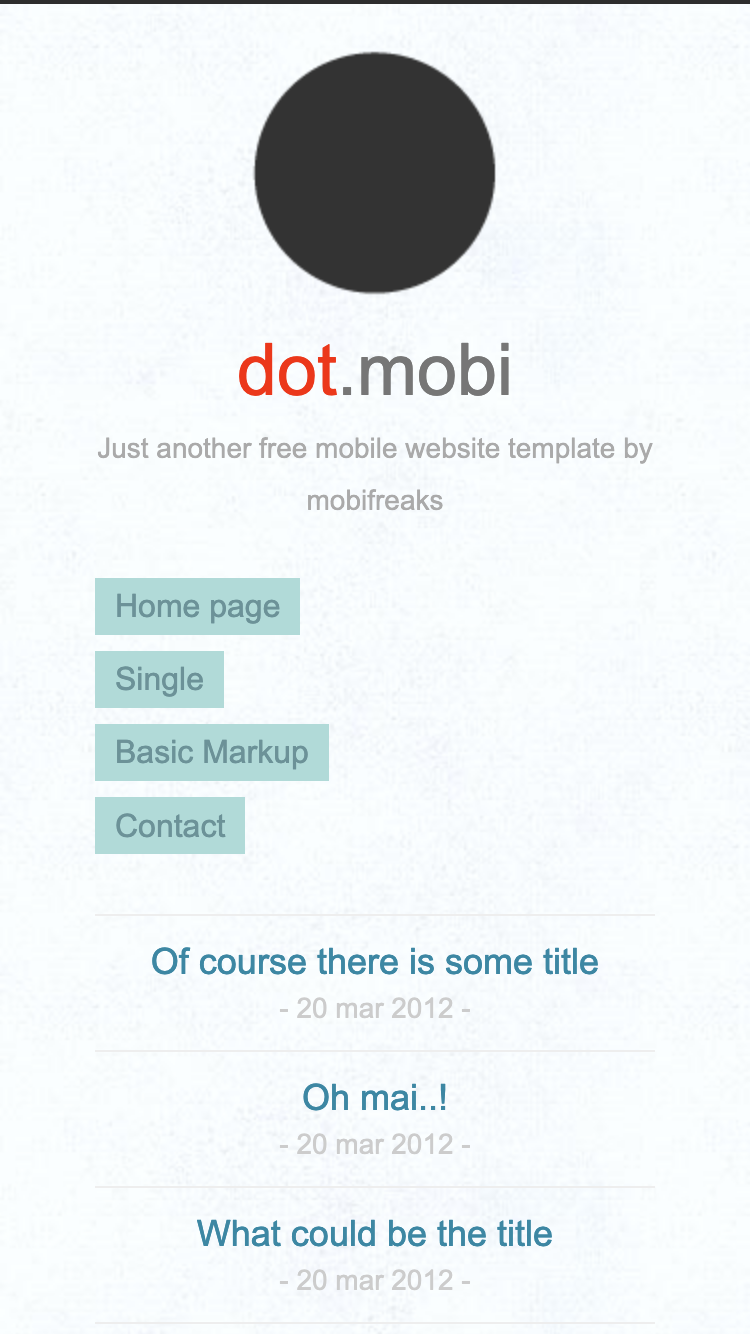 Screenshot of Dot Mobi Light mobile website template