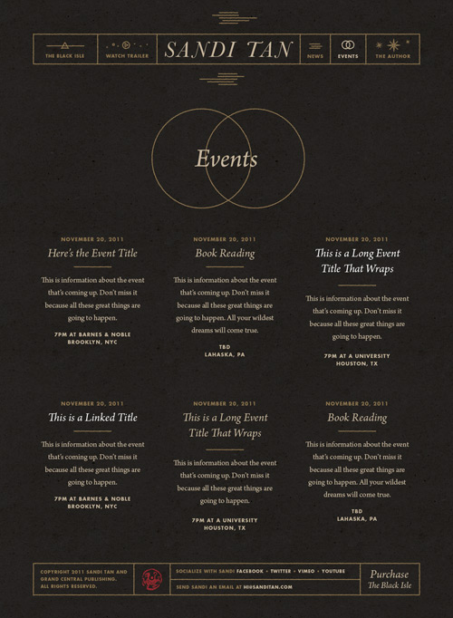 Screenshot of the Sandi Tan events page