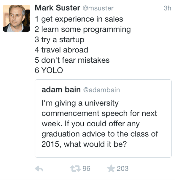 Mark's Suster career advice tweet