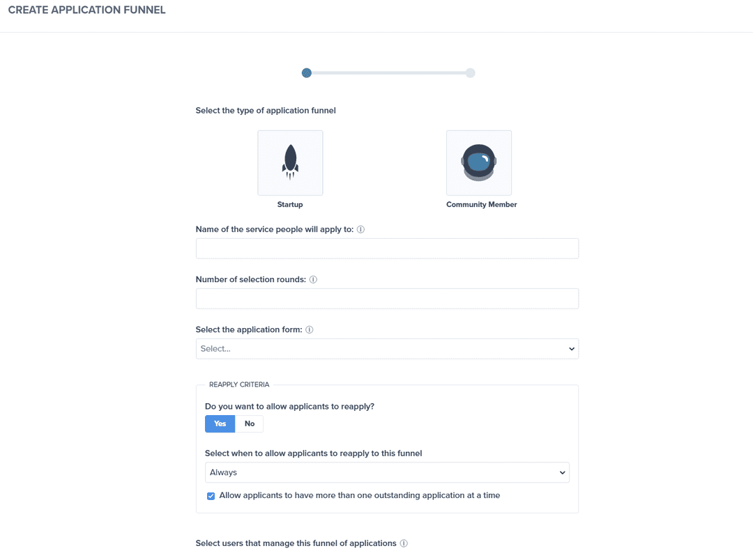 Creating an application funnel