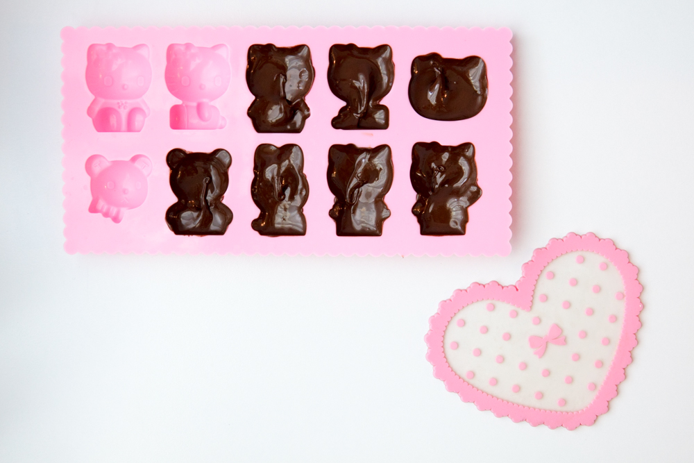 step 1 in making hello kitty chocolate peanut butter cup candies