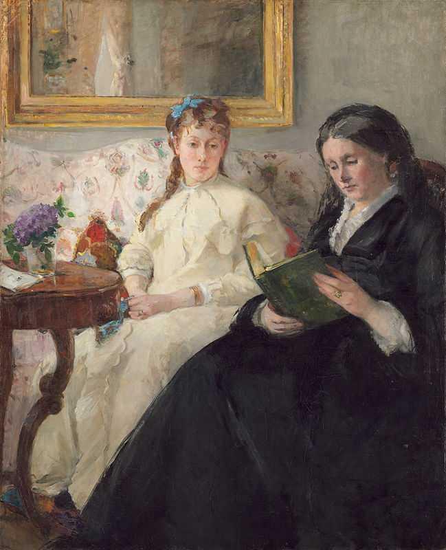 Portrait de Mme Morisot et de sa fille Mme Pontillon ou La lecture (The Mother and Sister of the Artist – Marie-Joséphine & Edma) by Berthe Morisot in 1869/70