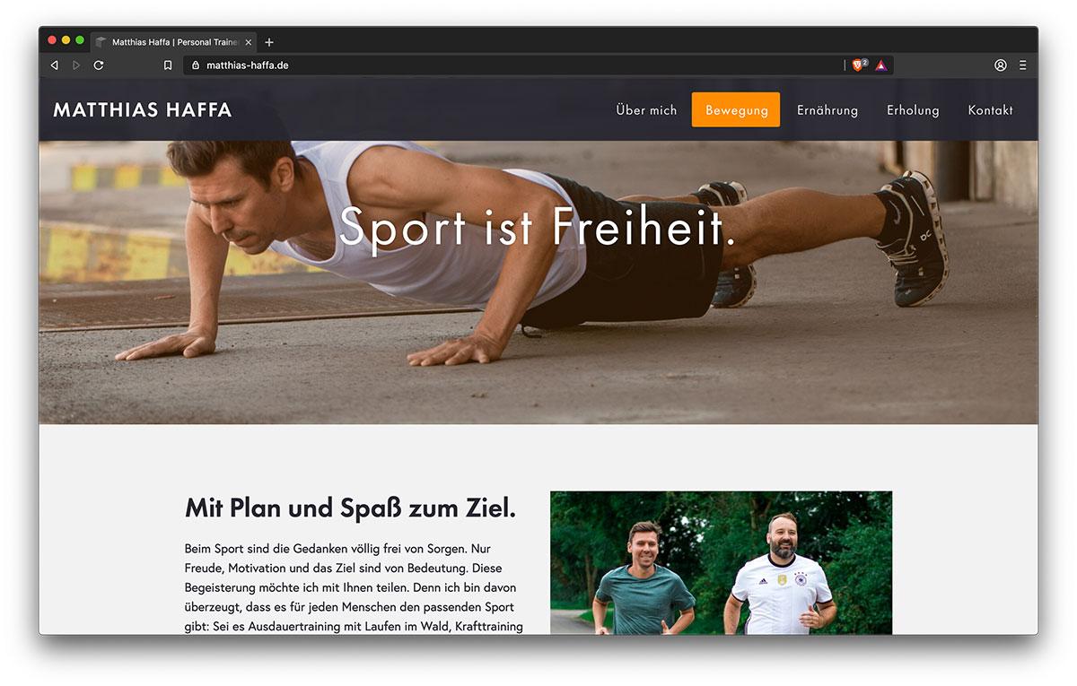 Webseite Matthias Haffa (Bewegung) - Webdesign Freiburg KreativBomber