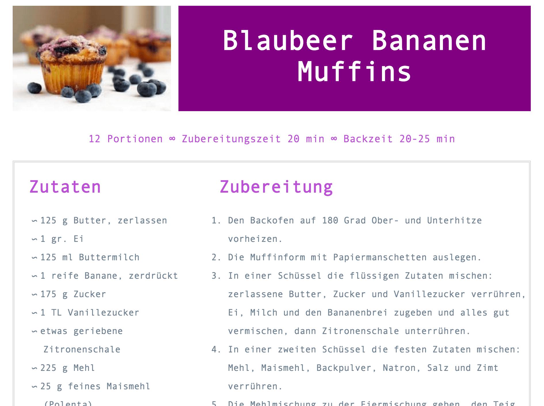 Screenshot of a participant's recipe