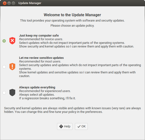 Upgrade Manager Linux Mint