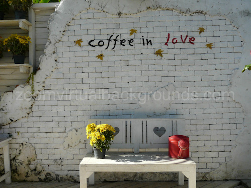 Cafe Virtual Background for Zoom outdoor setting with bench and graffiti saying coffee in love