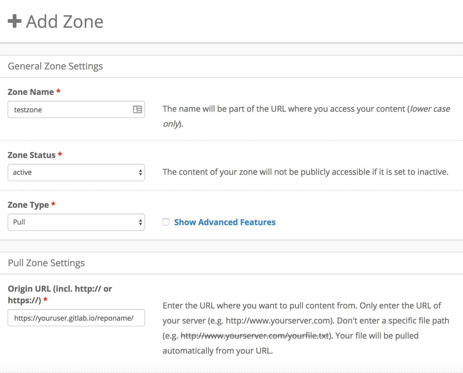 Screenshot of KeyCDN's pull zone creation page