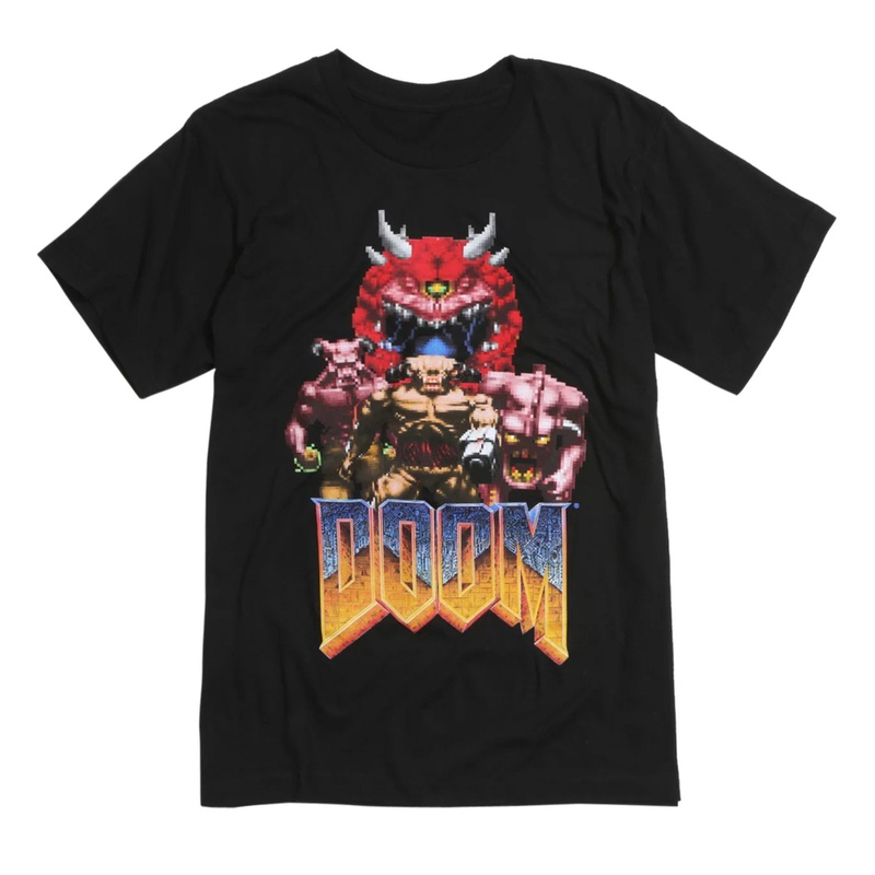 Doom Vintage Classic Monsters Characters Black T-shirt