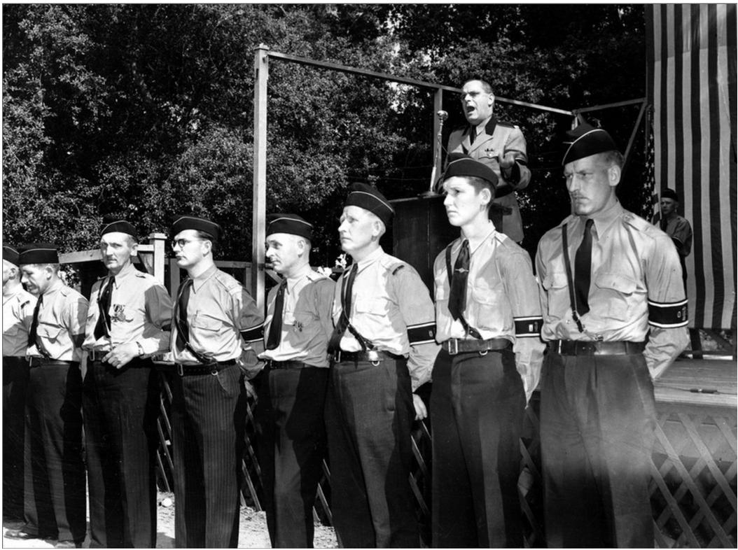 Members of the German-American Bund stand guard in front of leader Fritz Kuhn speaking in Hindenburg Park. April 30, 1939. (credit, AP) featured in the Atlantic [here](https://www.google.com/amp/s/amp.theatlantic.com/amp/photo/529185/).