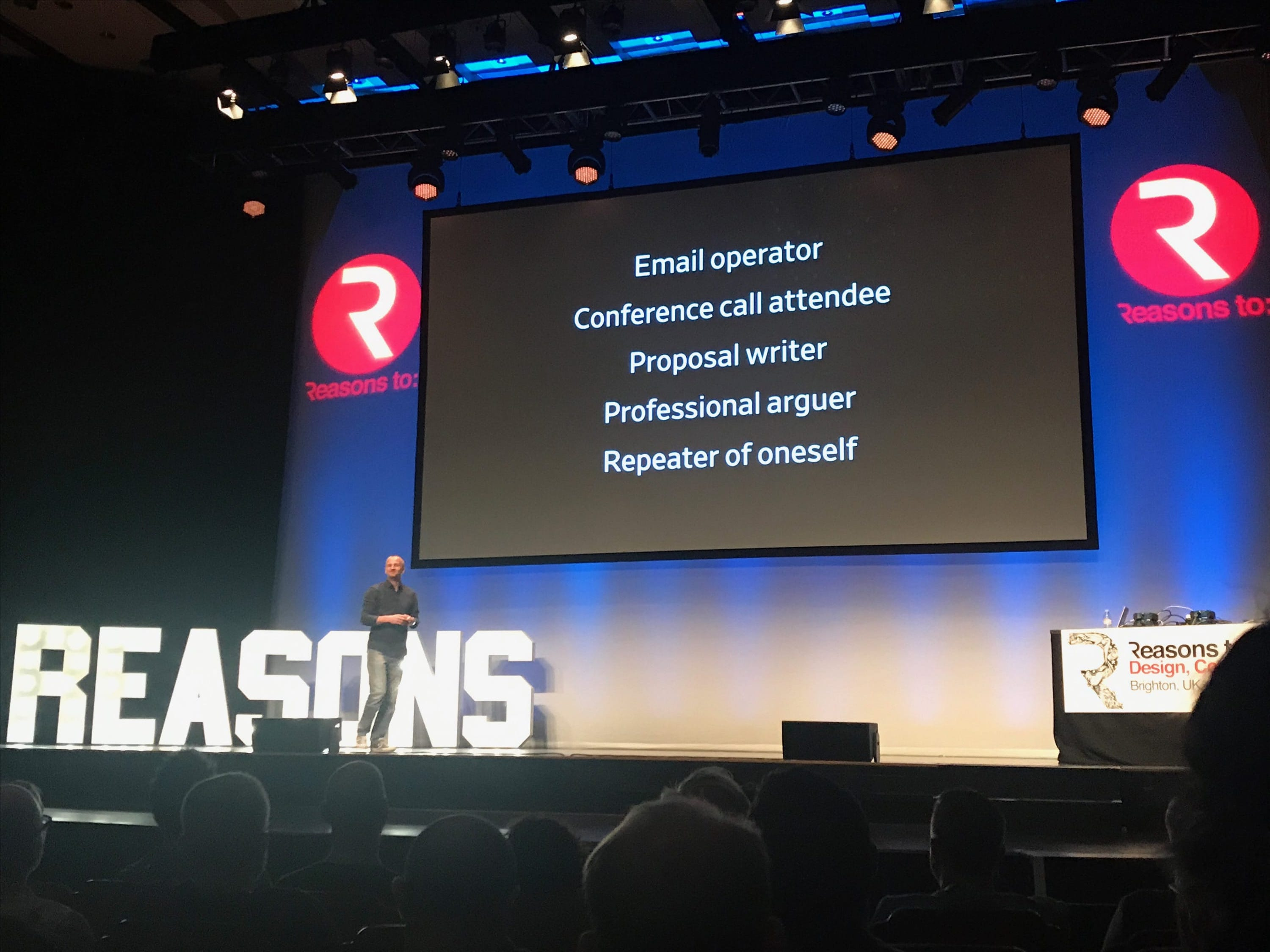 Mark Boulton on stage at Reasons To conference 2017