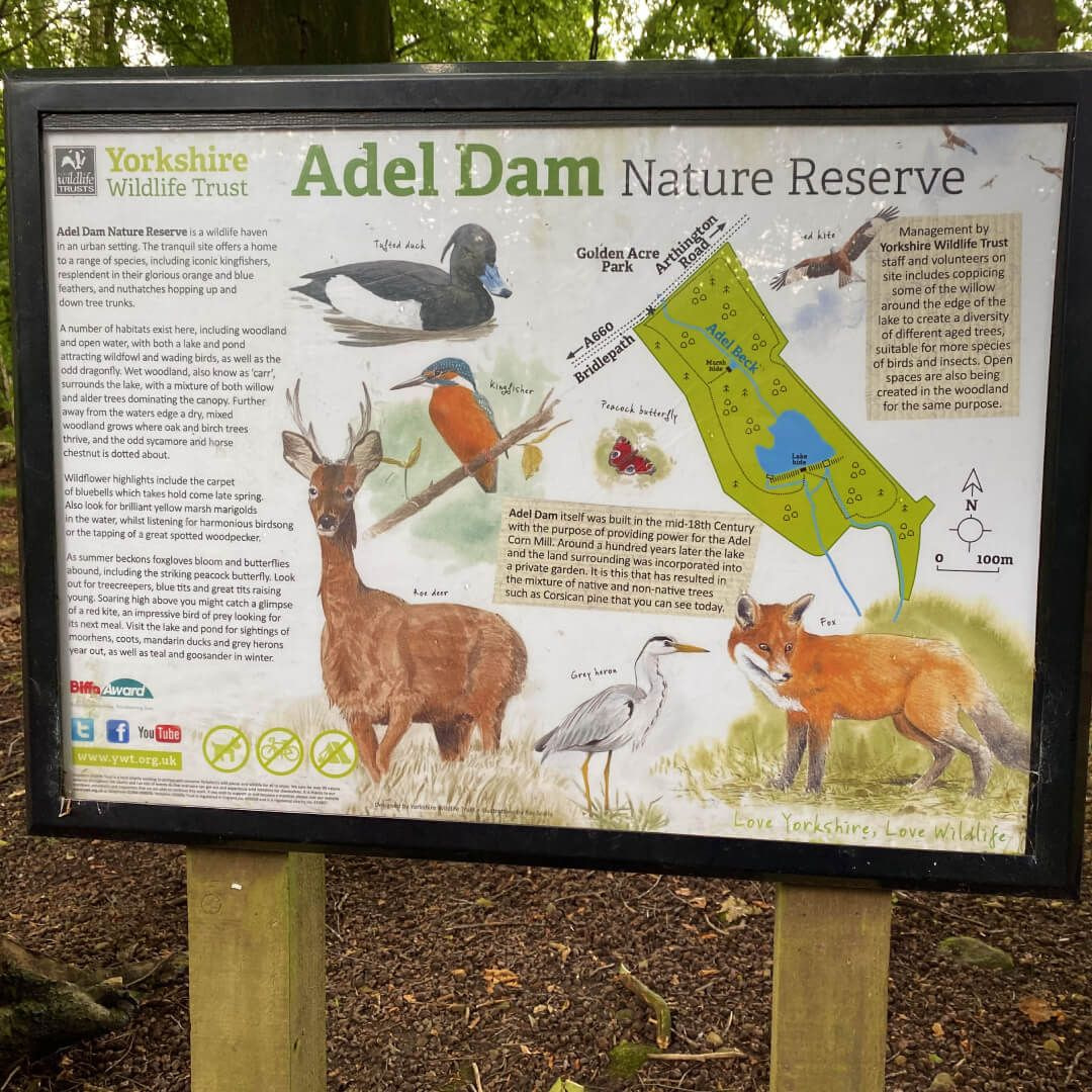 Adel Dam Nature Reserve sign with map