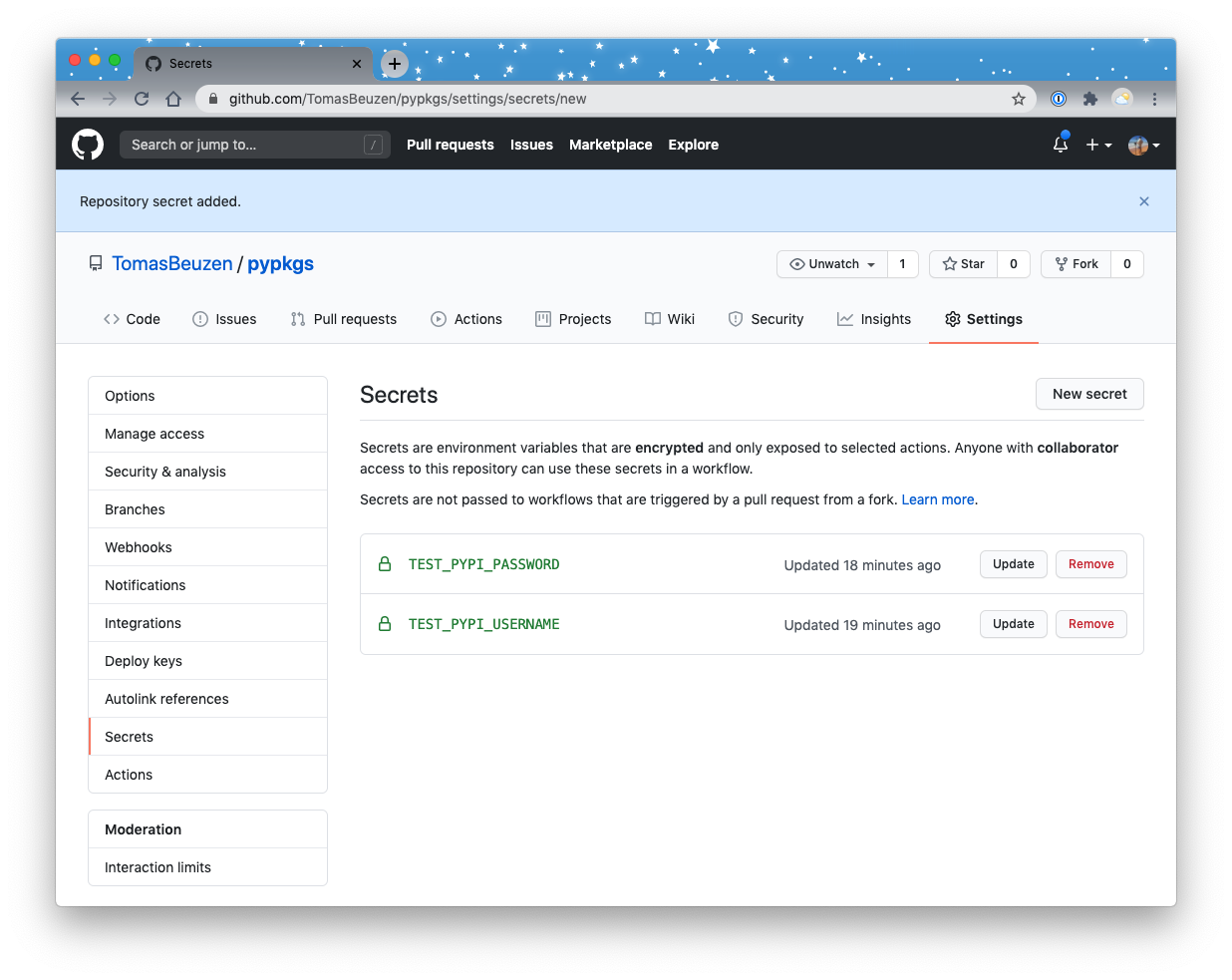 GitHub Secrets required for automated publishing to TestPyPI.