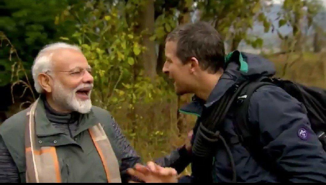 Modi Bear Grylls Man vs. Wild Laughing
