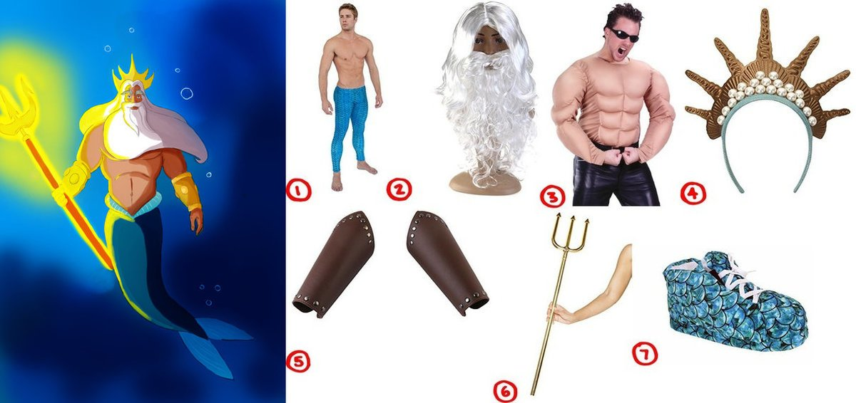 dress like king triton the little mermaid costume for cosplay