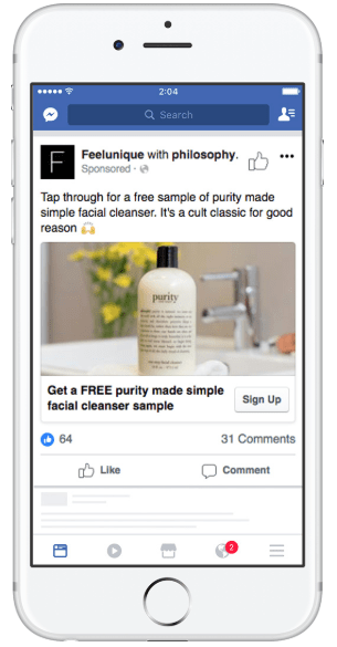 Ads example facebook