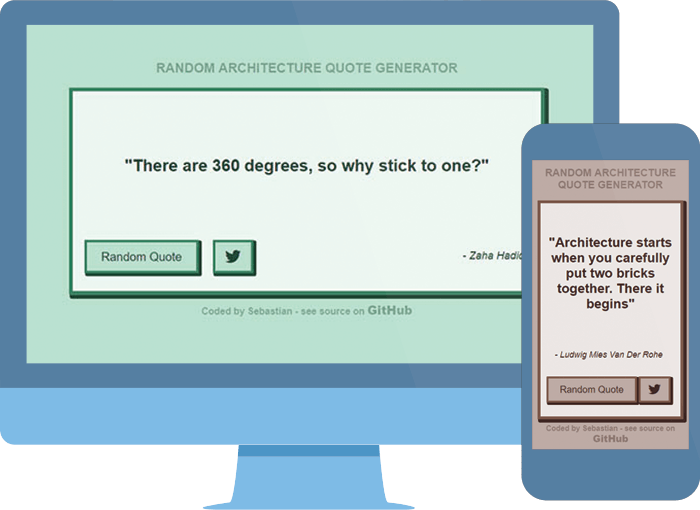 Quote Generator on large desktop and small mobile devices preview