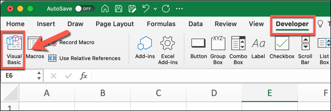 The ribbon bar in Microsoft Excel, with the developer tab highlighted and an arrow pointing to the Visual Basic icon