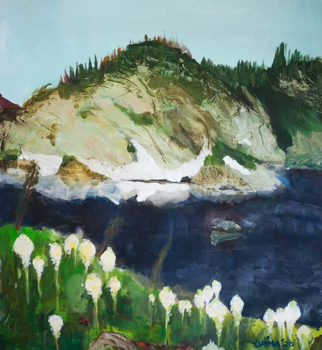 Sacred Landscapes High Lake View, acrylic on paper
