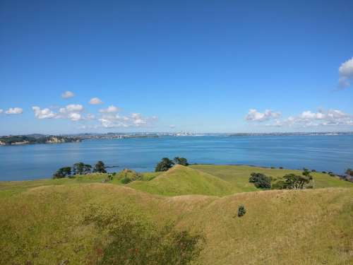 Looking back at Auckland from the summit of Browns Island