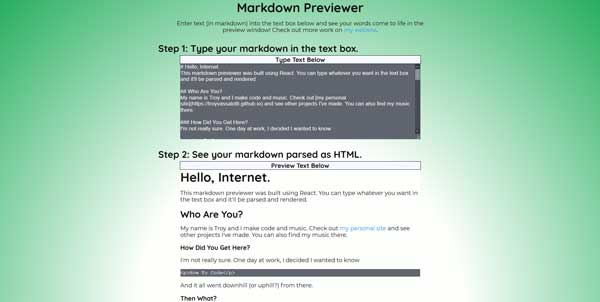 Screenshot of my project Markdown Previewer