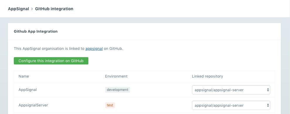 GitHub integration page