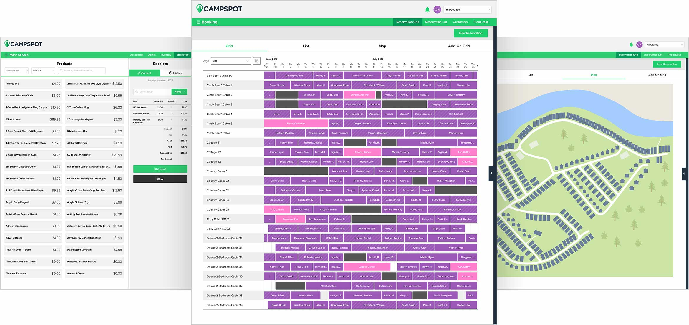 Campspot point of sale, reservation grid, and campground map interfaces