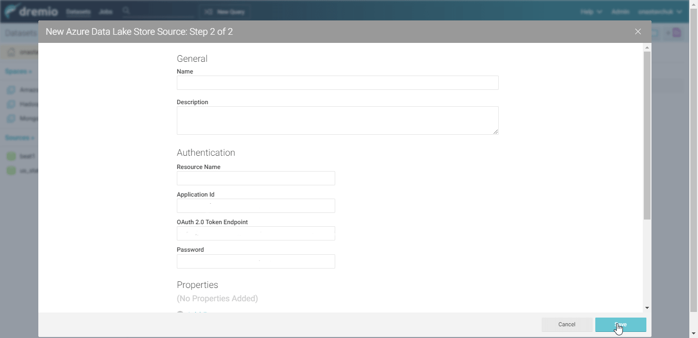 seting up the Dremio connection to Azure Data Lake Store