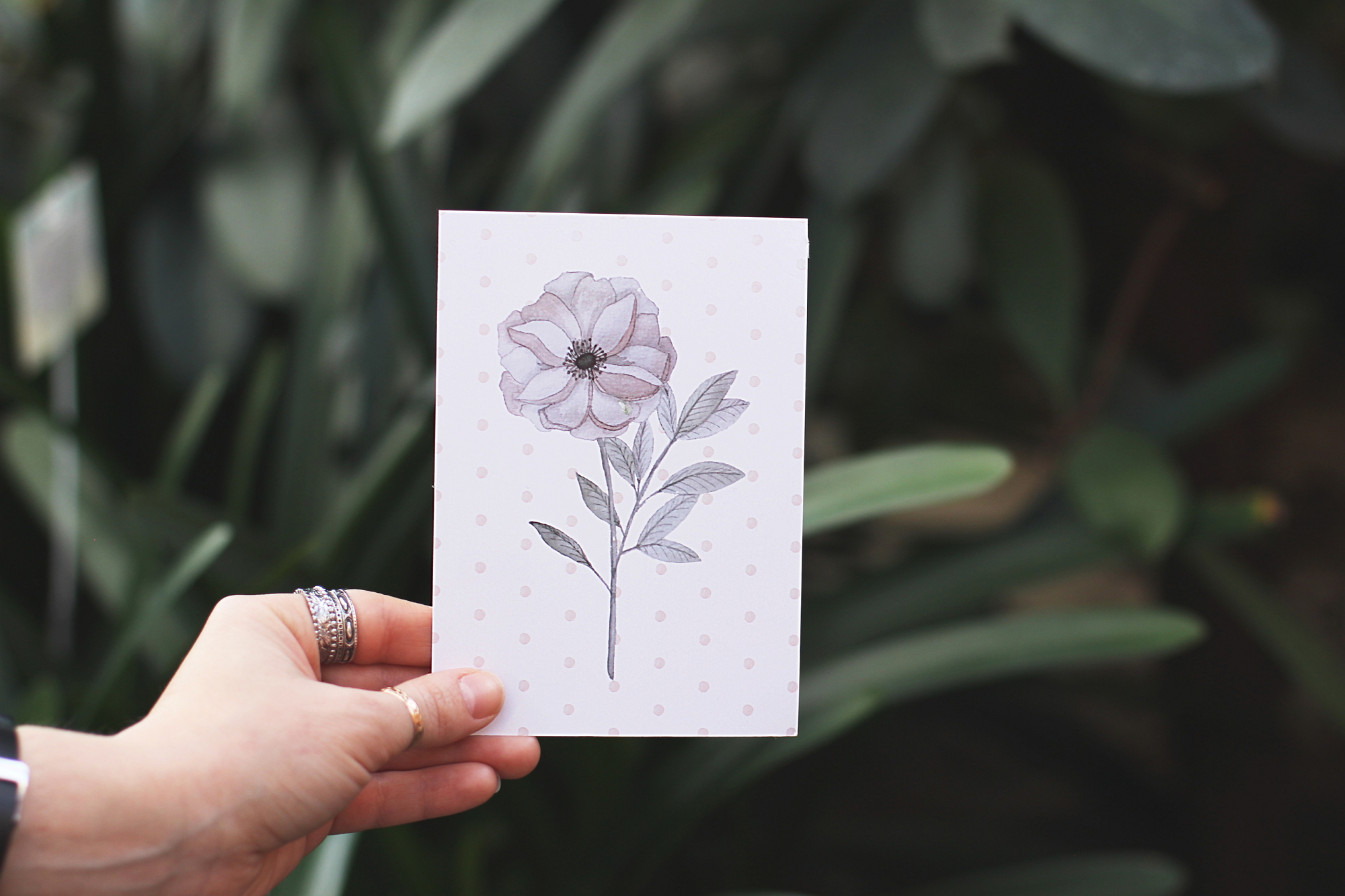 postcard with a pastel watercolor flower item