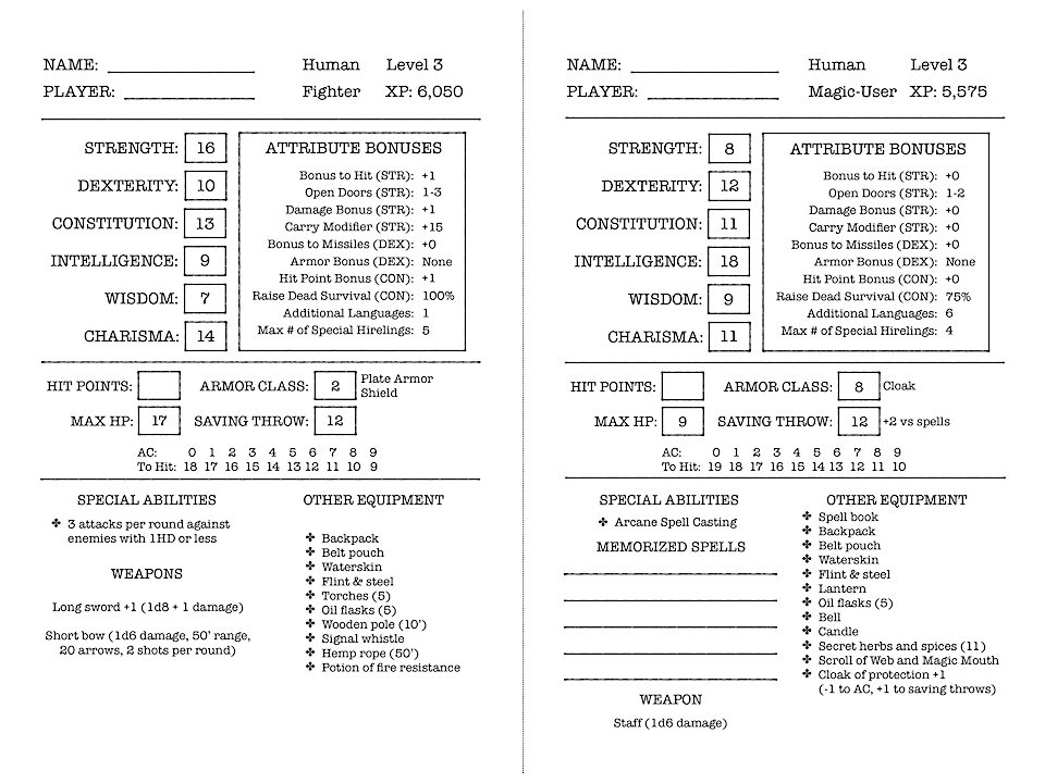 Character sheets for a 3rd level Human Fighter and a 3rd level Human Magic-User.