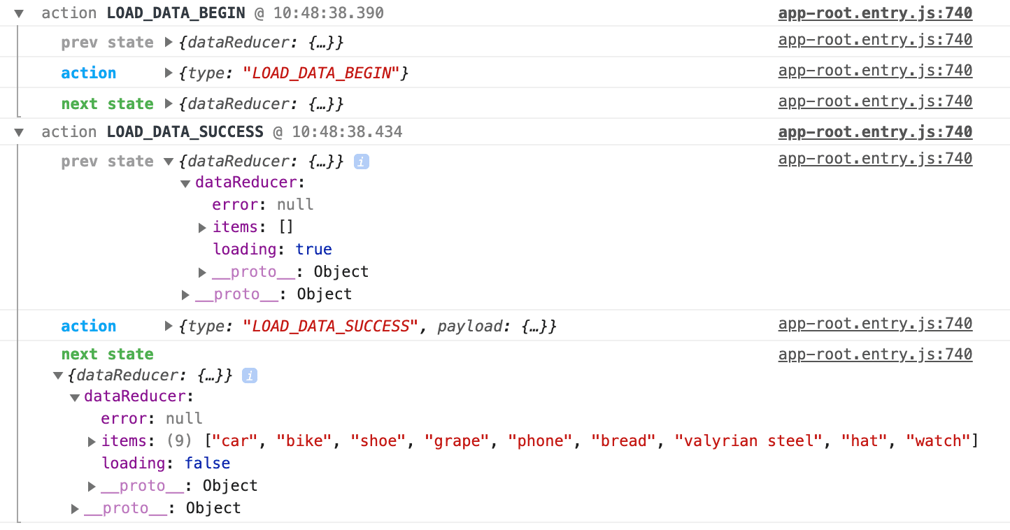 redux-logger showing successful data load