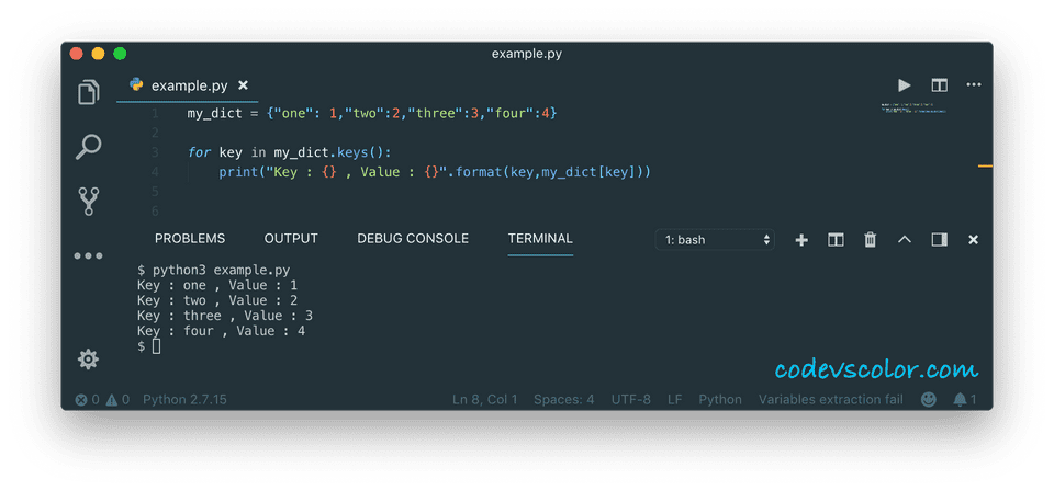 python print dictionary iterating keys