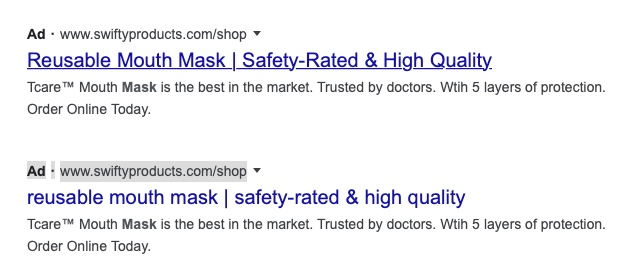 Example of a Google Advert in both lowercase and uppercase