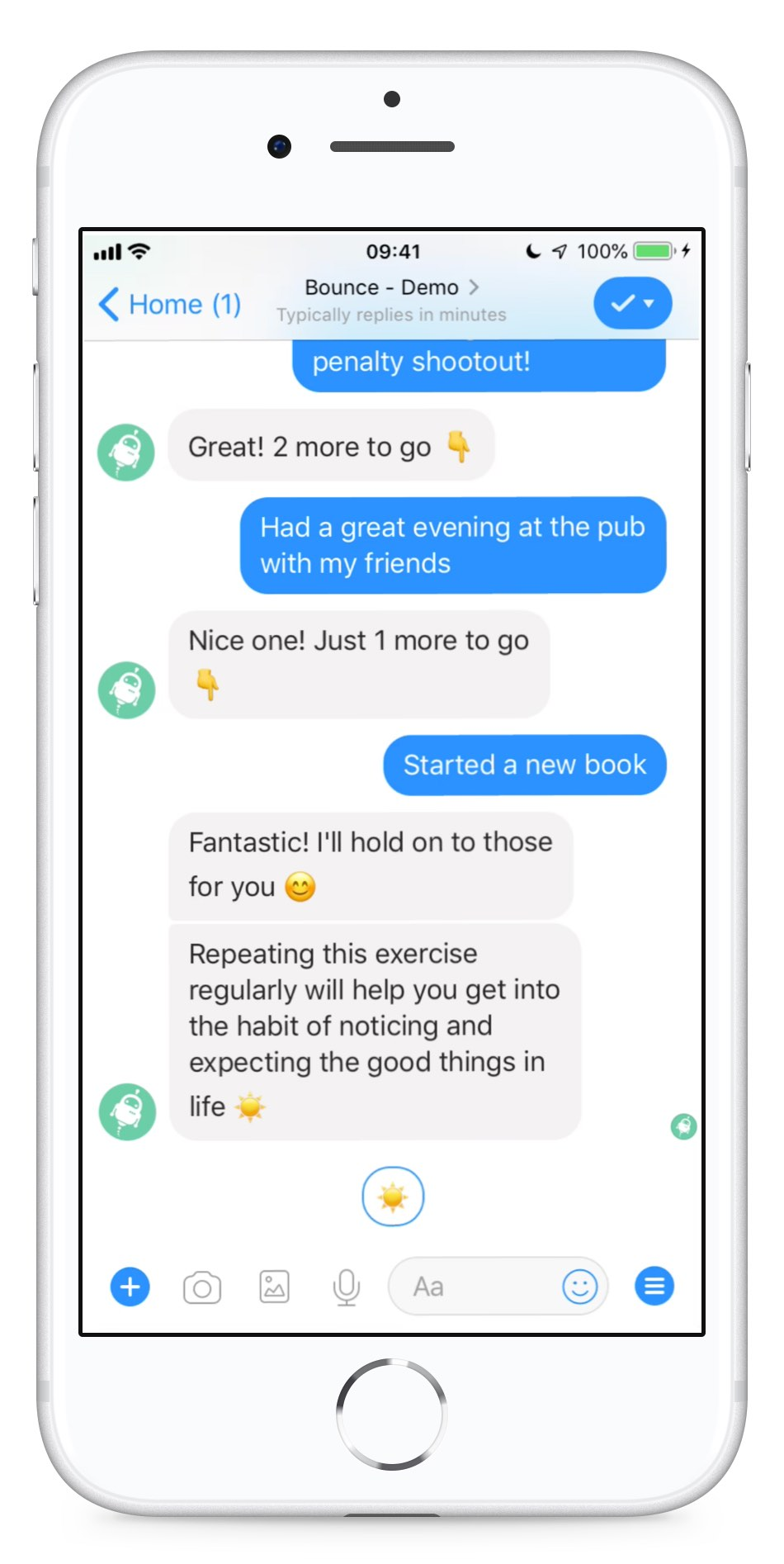 Bounce chat in in Facebook Messenger