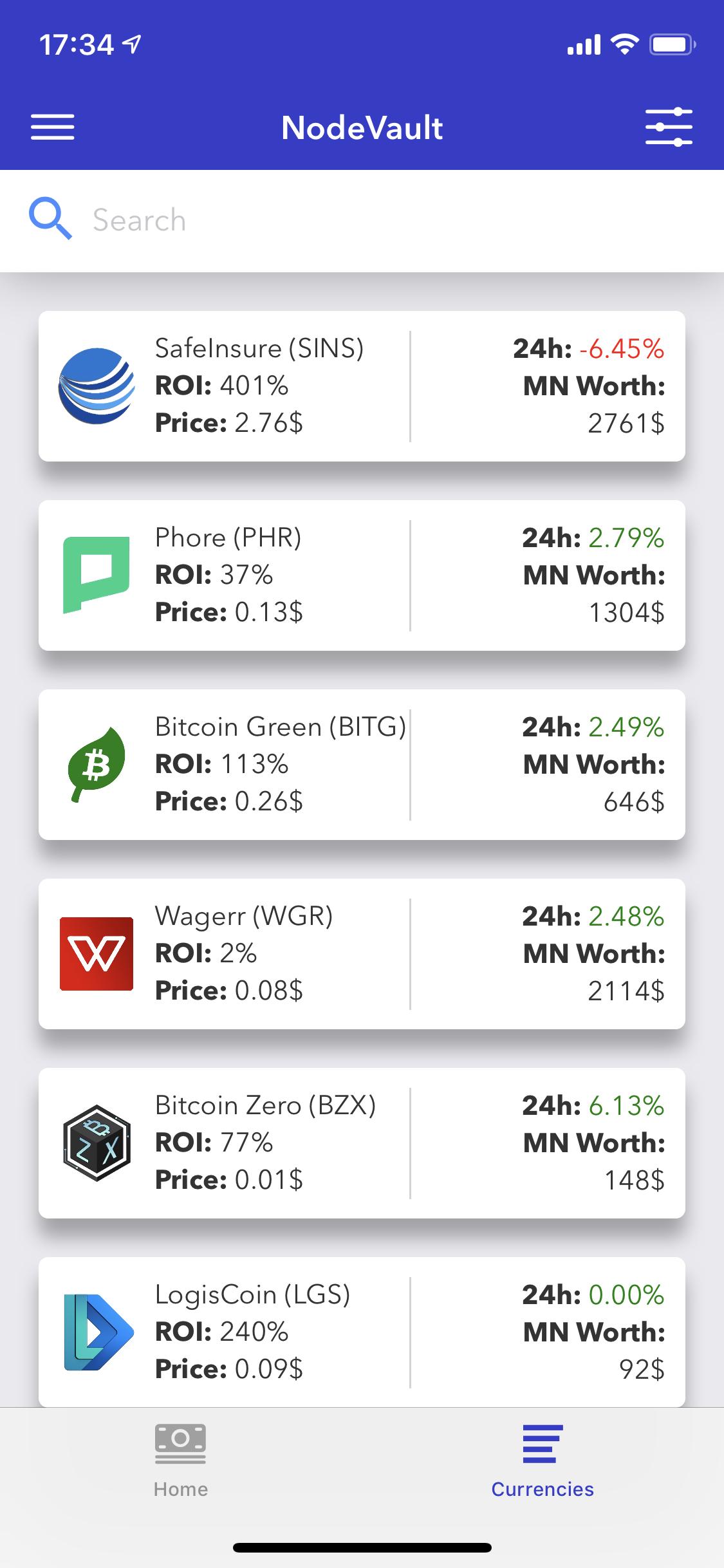Screenshot of the app (Currencies list)