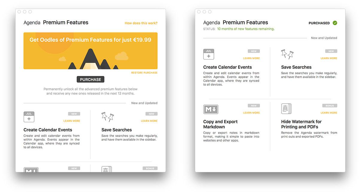 Agenda premium features